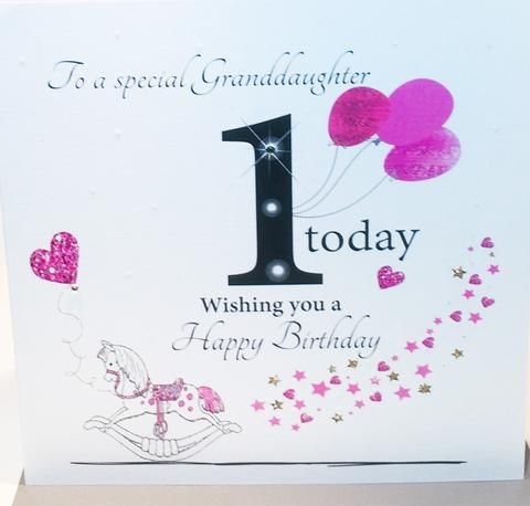 Happy 1st Birthday Card For A Special Granddaughter Herbysgifts Com 1st Birthday Cards Happy 1st Birthdays Birthday Cards