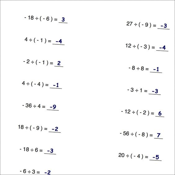 Worksheets with simple problems that introduce negative numbers – Multiplication and Division Facts Worksheets
