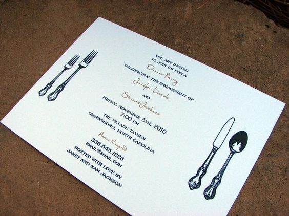 rehearsal dinner party invitation fancy personalized silverware