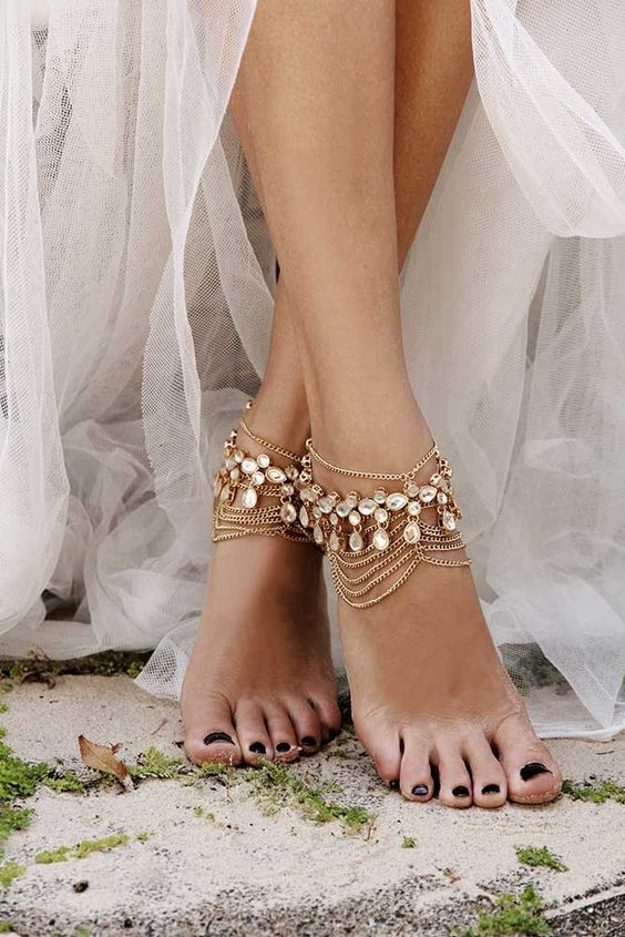 'Kirrilly' Gold Bohemian Bridal Anklets. Wear them with our bridal shoes or go barefoot! For the bohemian bride. Discount code FSPINTEREST to receive 5% off! Shop at foreversoles.com