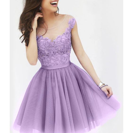 Sexy Sccop Neck Sleeveless See Through Appliques Women s Dress ($16) ❤ liked on Polyvore featuring dresses, light purple, sleeveless dress, sexy sheer dresses, purple dress, sleeveless cocktail dress and applique dress