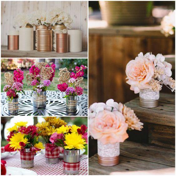 decoração de casamento com latas