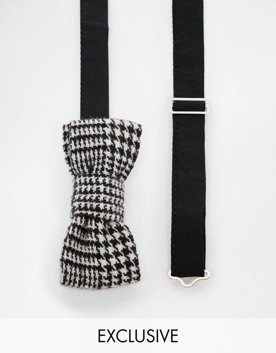 Fliege von Reclaimed Vintage aus Wollmischung Fliegendesign verstellbare Größe sicherer Verschluss Mit feuchtem Tuch abwischen. 60% Polyester, 40% Wolle Breite: 12 cm (5 Zoll) exklusiv bei ASOS