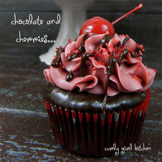 Chocolate Covered Cherry Cupcakes ~T~Starts with a devil's food mix then you add dark unsweetened cocoa powder, sour cream and tart cherry juice. Topped with a chocolate ganache and then cherry buttercream. So good.