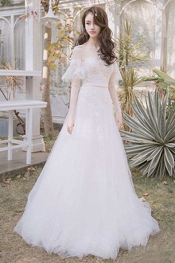Off Shoulder Leaf Shape Lace Aline Beach Boho Wedding Dress