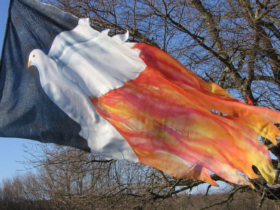 Fire Dove- Hand Painted Silk Worship Flag- Large