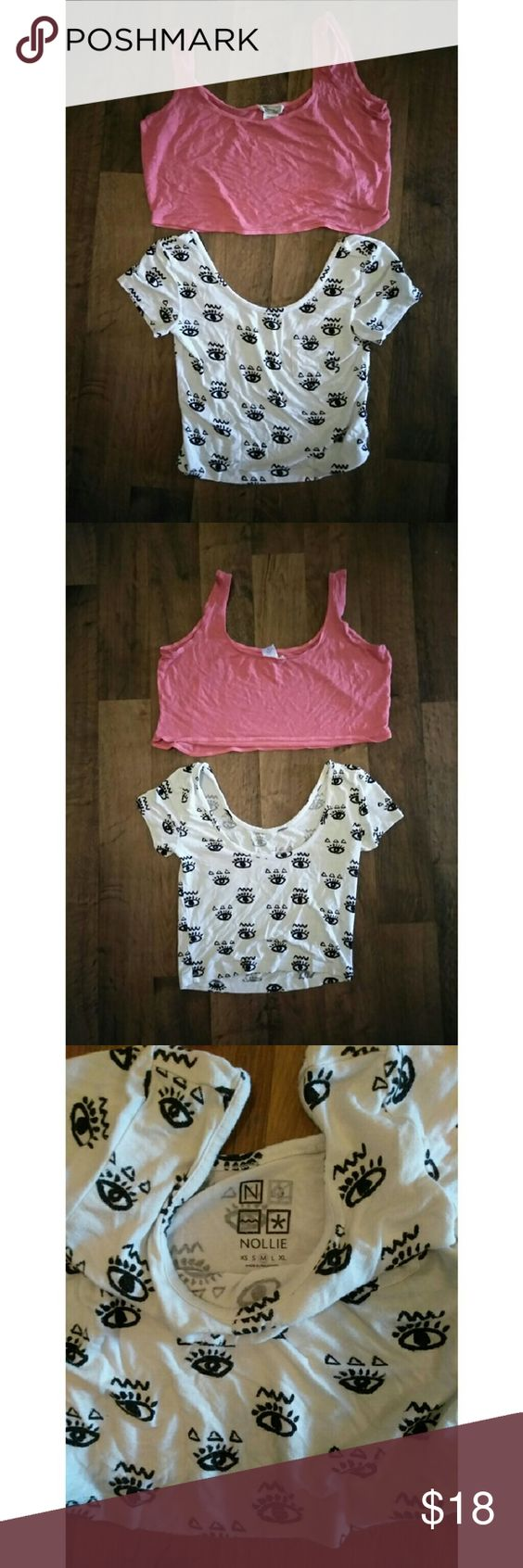 Nollie (M) and Kirra (S) Crop tops bundle This listing is for both crop tops, the pink crop is Kirra Small (oversized), and the short sleeve white is Nollie Medium. Comment with questions offer button for offers. :) Nollie Tops Crop Tops