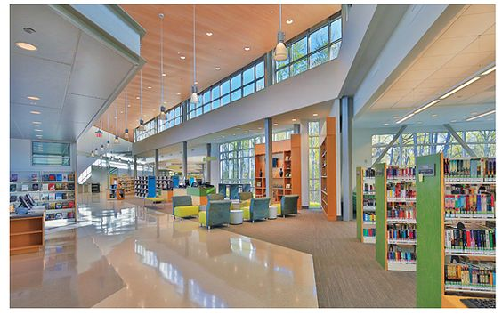 The new Northeast Regional Library, Raleigh, NC, comprises two main wings (children and adult), with a central connector providing visibility to the entire facility.: