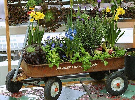 Cute wagon planter.