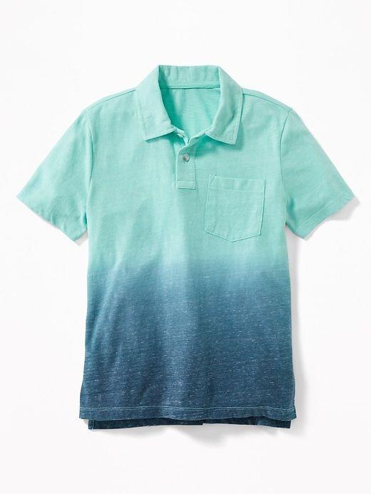 Dip Dyed Slub Knit Jersey Polo For Boys