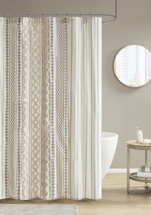 Ink Ivy Imani Cotton Printed Shower Curtain With Chenille Stripe In 2020 Curtains Printed Shower Curtain Ink Ivy Ink and ivy shower curtain
