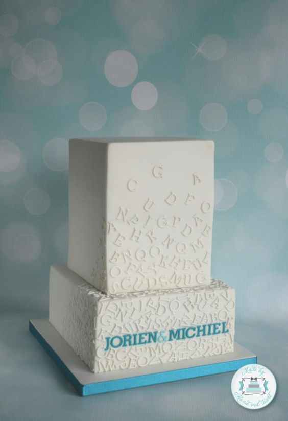 Falling letters wedding cake - Cake by Mond vol taart