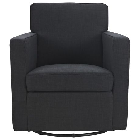 Swivel Armchair  $449  Fabric  Arena  Colour  Onyx  Assembly  Fully Assembled  Dimensions  74 x 83 x 85cm