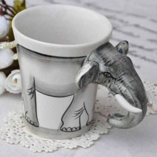 Novelty Handpainted Elephant Coffee Cup