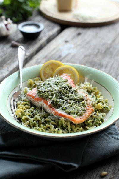 pasta basil pesto salmon pesto basil spinach pasta healthy seafood ...