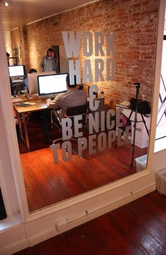 Window decal we love work hard be nice to people window stickers decals pinterest for Is it hard to become an interior designer
