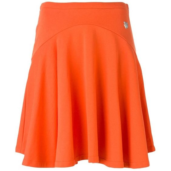 Kenzo pleated a-line skirt ($210) ❤ liked on Polyvore featuring skirts, tiger print skirt, cotton skirt, orange skirt, cotton pleated skirt and a line skirt