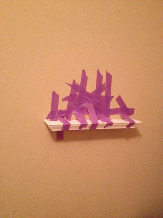 """How (not) to hang a ledge shelf"". Nailed it.  Hahahaha"