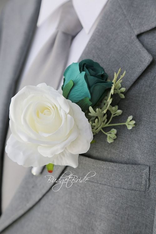 Silver Grey and Black Satin Boutonniere Groom Groomsmen Usher Father of the Bride Prom With Rhinestone Accent..Custom