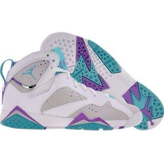 Shoes air jordans 7 air jordans retro teal purple gray ❤ liked on Polyvore featuring shoes and jordans