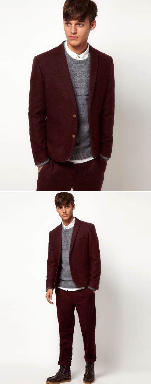 ASOS MENS BERRY WINE BURGUNDY SLIM FIT SUIT | one for the guys