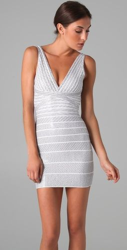 Herve Leger Sequin V Neck Dress