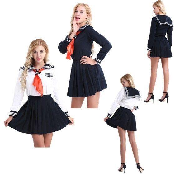 School Japanese Sailor Uniform Girl Dress Costume Anime Students Cosplay Fancy