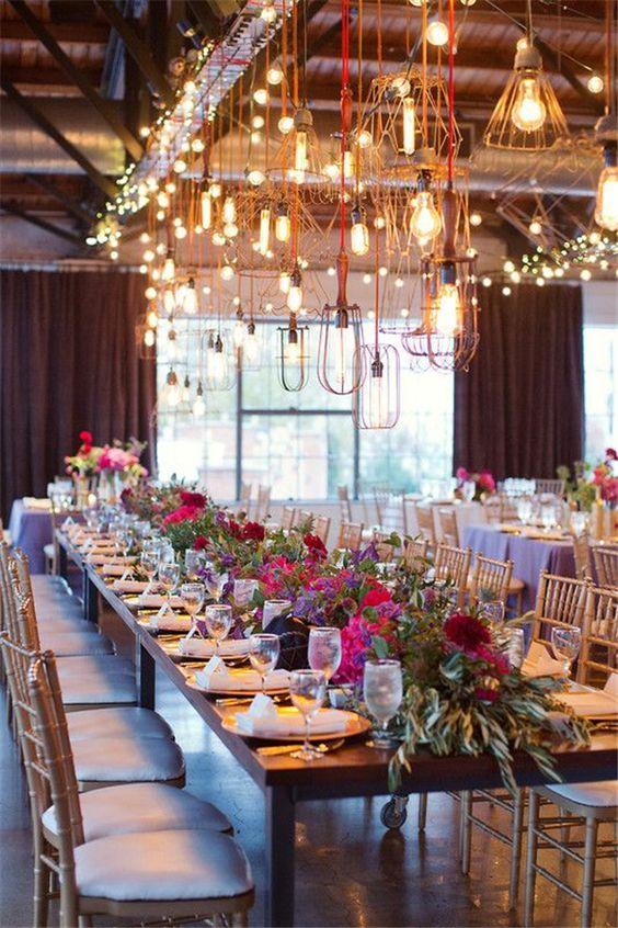 Unique lighting edison bulbs and wedding reception ideas for Unique wedding decoration ideas for reception