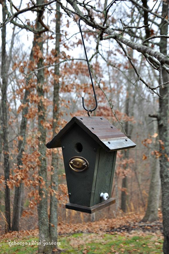 "Rustic Hanging Birdhouse ~ ""The Villa"" by RebeccasBirdGardens on Etsy"