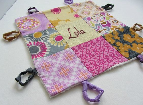 Baby Blanket Lovey with Custom Hand Embroidery by by dolcedreams, $28.00