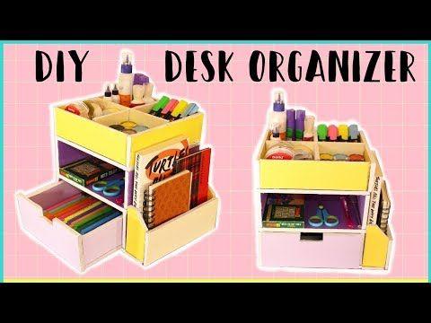 How To Make Cardboard Desk Organizer With Templates Diy Storage Organizer Youtube Desk Organization Diy Cardboard Crafts Diy Diy Storage Organiser