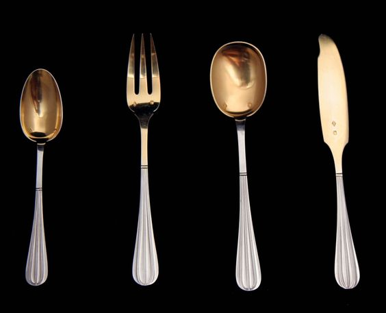 Individual Vermeil Pieces from  the 294 pc. Christofle (Cardeilhac), 19th Century, Sterling Silver Flatware Set Complete with 22 Serving Pieces and 11 Covered, Individual Storage Trays - in Excellent Condition !!