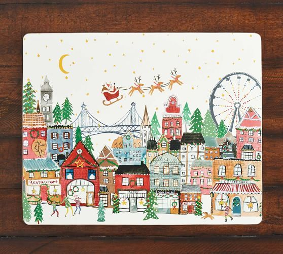 Christmas In The City Santa Cork Placemats Set Of 4 Pottery Barn In 2020 Christmas In The City Christmas Placemats Christmas Plates