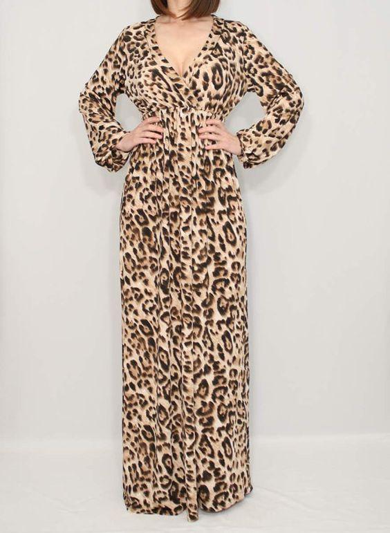 Women maxi dress Long sleeve dress Animal print dress on Etsy ...