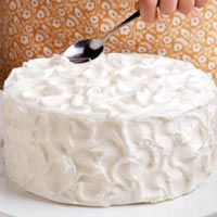 When frosting a cake, to make peaks, press the flat side of a tablespoon or teaspoon into the frosting and pull straight up, forming a peak. Repeat over top and sides of cake. --Taste of Home Test Kitchen