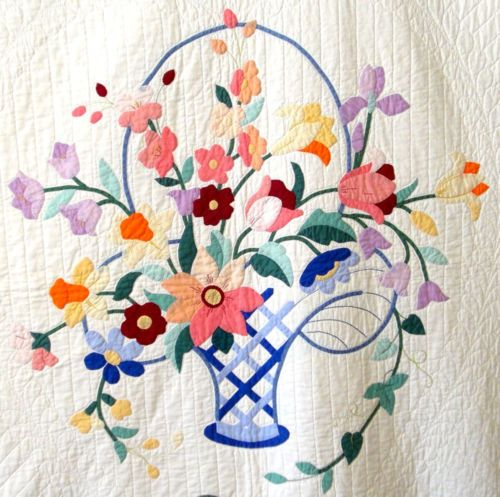 Antique 1930 Applique Flower Basket Quilt
