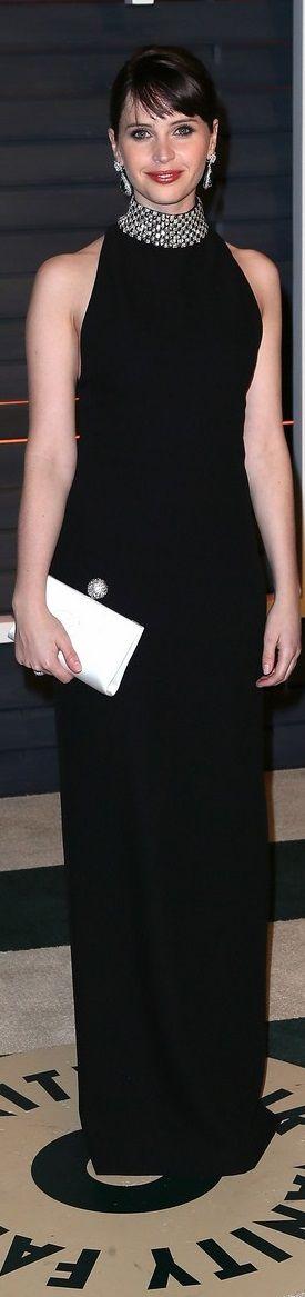 Felicity Jones In Saint Laurent – 2015 Vanity Fair Party