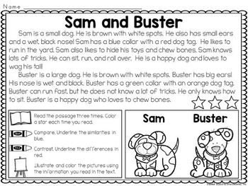 Worksheet Compare And Contrast Reading Worksheets kid compare and contrast reading on pinterest passages super engaging interactive for kids