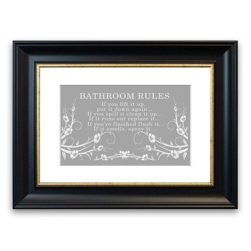 East Urban Home Bathroom Rules 2 Framed Typography In Grey White Bathroom Rules Frame Framed Wall Art