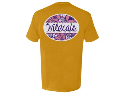 K-State Wildcats Floral Oval Comfort Colors Tee Shirt - Gold