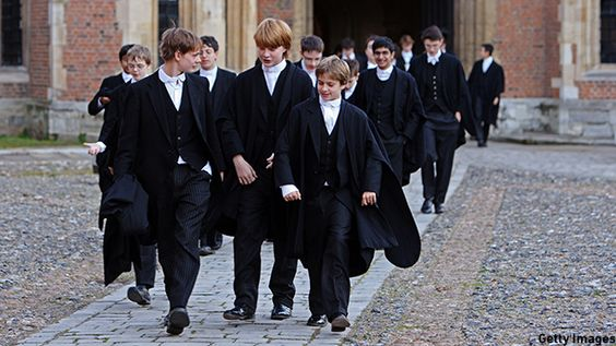 Boys on their way to class at Britain's historic Eton School. (Photo: Christopher Furlong/Getty Images)