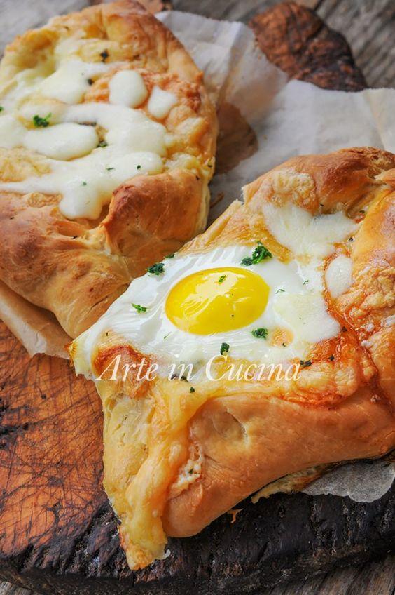 Khachapuri barchette di pane uovo e formaggio veloci vickyart arte in cucina