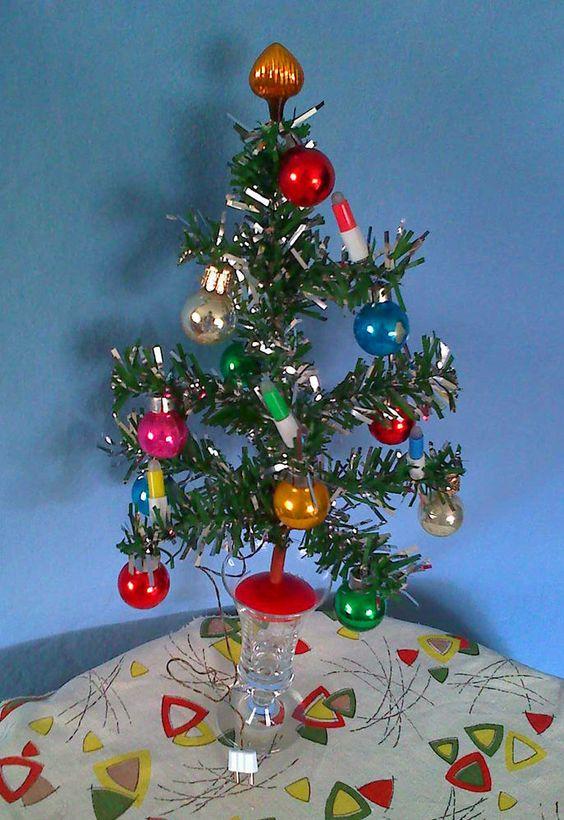 60er Christbaum f. Puppenstube m. elektr. Beleuchtung Glaskugeln Federbaum 20 cm   eBay