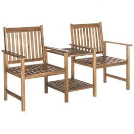 Brea Twin Seat Acacia Patio Bench in Teak