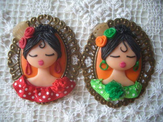 Preciosos broches de Flamencas