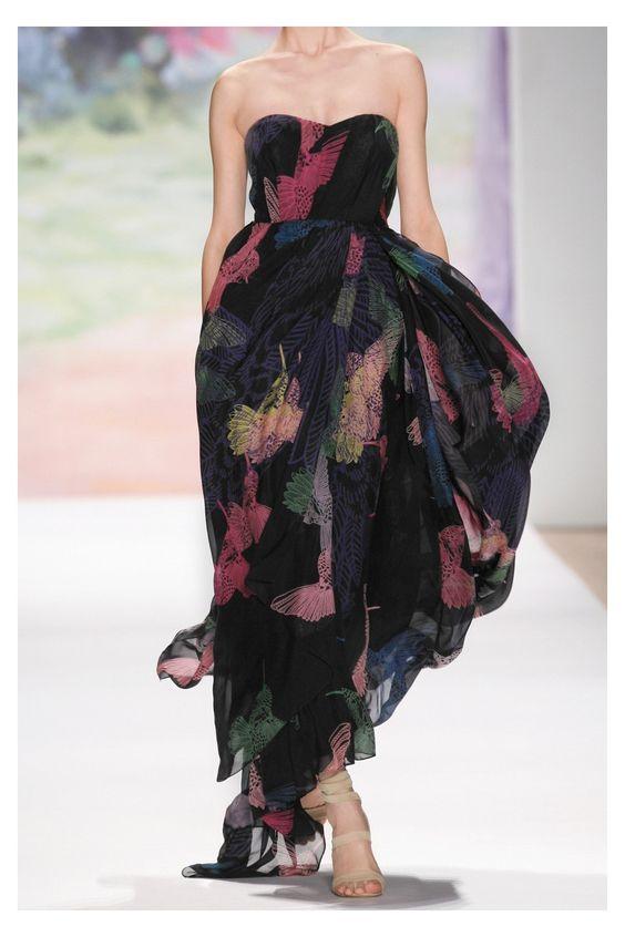 Tibi Hummingbird-print silk-chiffon gown
