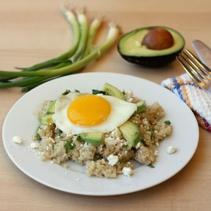 Fried Egg, Avocado and Feta Quinoa