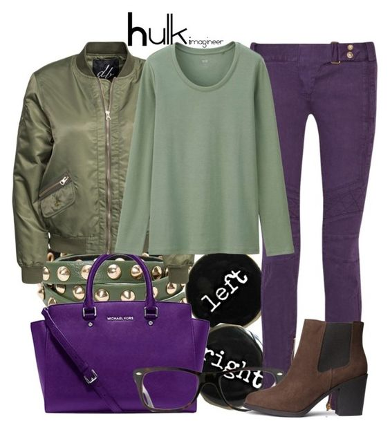 """""""Hulk (The Avengers)"""" by claucrasoda ❤ liked on Polyvore featuring Violeta by Mango, Michael Kors, Balmain, D. Brand, Uniqlo, Ray-Ban, H&M and snowbunny"""