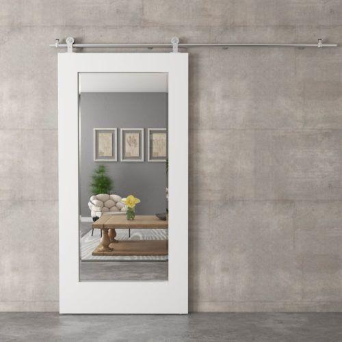 40 Beveled Mirror Barn Door White In 2020 Mirror Barn Door Modern Barn Door Interior Barn Doors