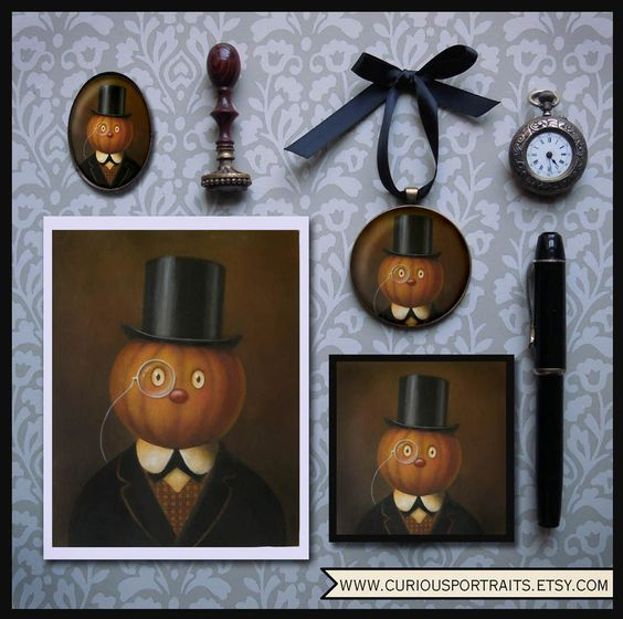 Welcome in Halloween with Gentleman Pumpkin prints, cards, pins, coasters, ornaments available at www.curiousportraits.etsy.com